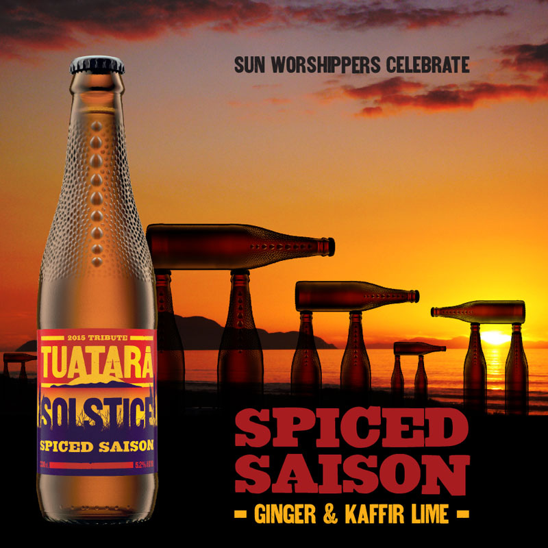 Solstice Spiced Saison launch, tap babge, packaging and supporting advertising material.